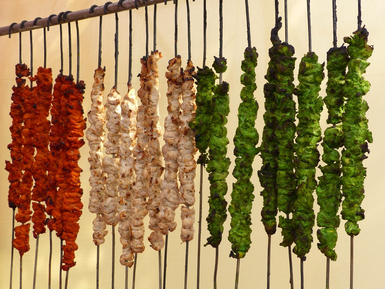 Colourful Mughlai kebabs