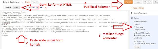 cara membuat halaman kontak di blogspot, halaman kontak untuk blogger, memasang form kontak di blogger