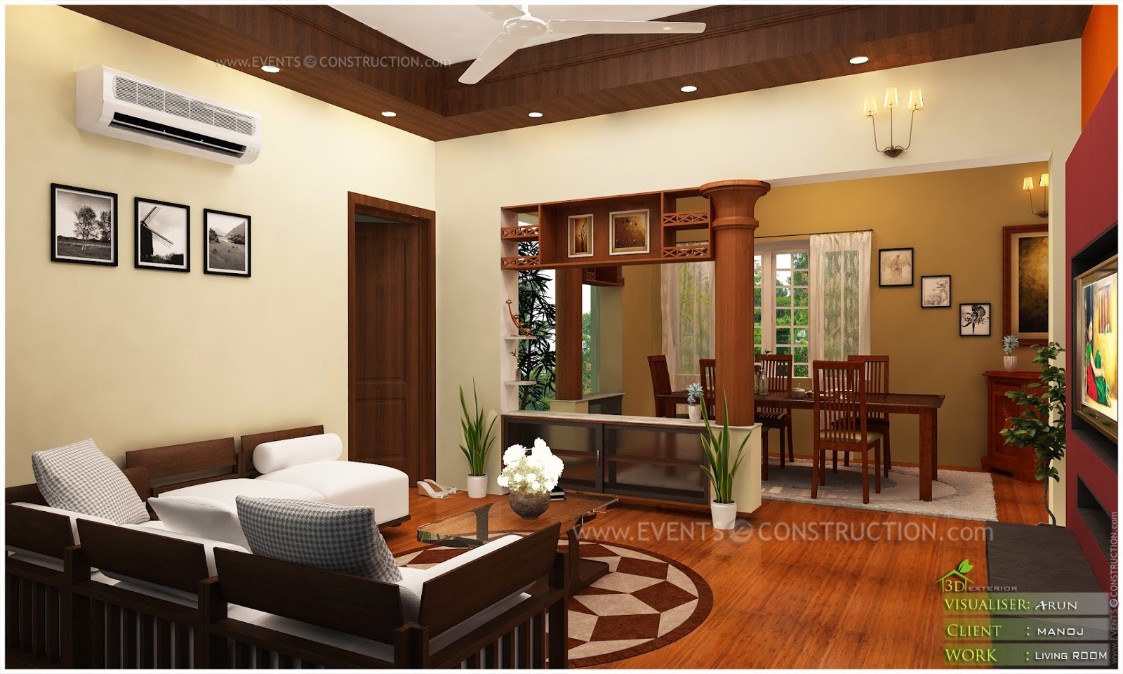Kerala home interior design living room home design and for Kerala home living room designs