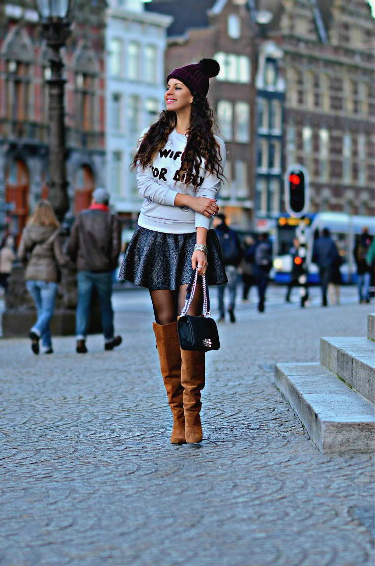 Tamara Chloé, Colurful Rebel, Wifey For Iifey, Suede Over The Knee The Boots, Chanel Boybag, Burgundy Pom Beanie, Glitter skater skirt, TC Style Clues