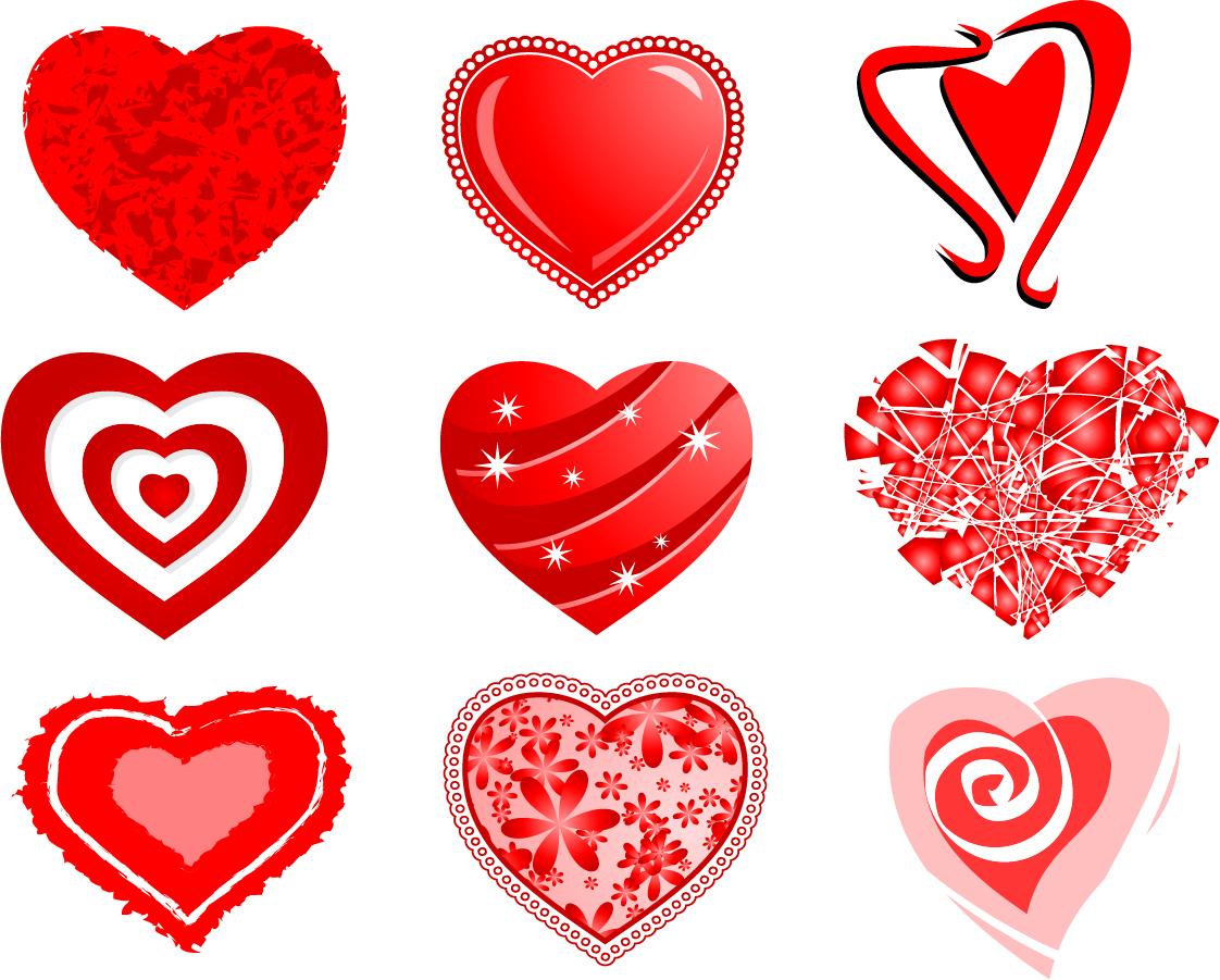 お洒落に型どったバレンタインデー ハート heart-shaped Valentine's Day vector material イラスト素材