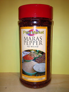 Maras (Marash) pepper adds wonderful flavor to food, a fruity kind of heat that goes with almost every savory dish...   Marash Pepper has perfectly balanced heat and amazing flavor, sweet and rich and almost smoky. This Turkish crushed chili has an ancho-like flavor with a little more heat and tartness. It's chunkier than paprika, so the flavor pops more. Use it in the oil for roasted potatoes, on baked winter squash, in the batter for corn bread or dough for cheese wafers, in the dry rub for cured duck legs; as a substitute for cayenne or hot red pepper flakes.