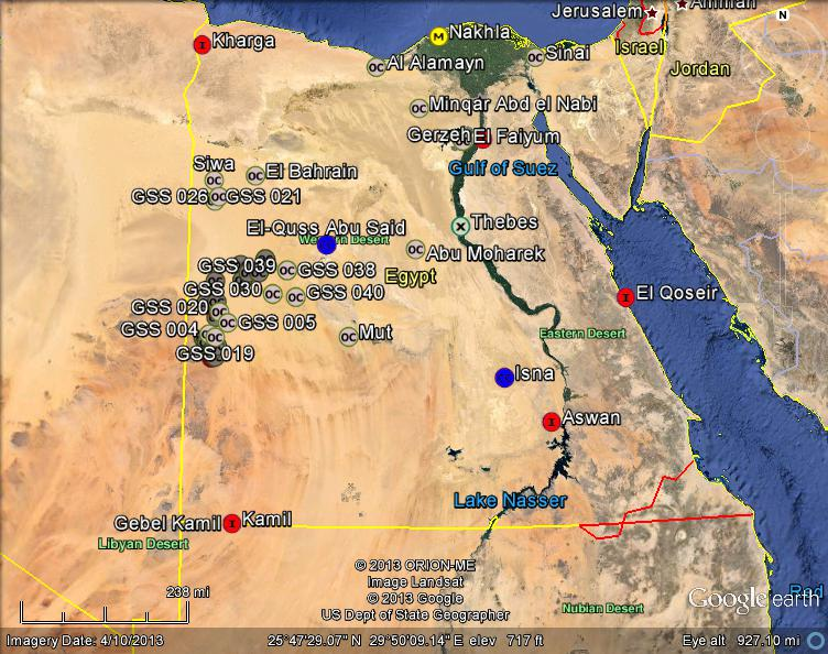 Meteorite Maps and Impact Craters Worldwide Egypt Meteorites Map