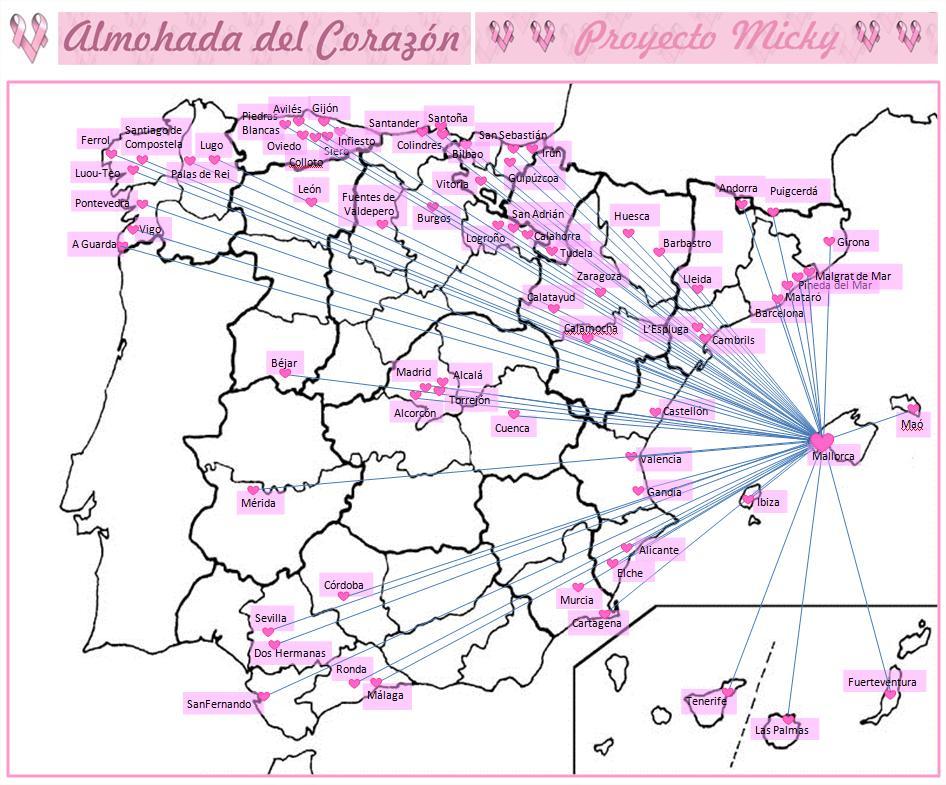 MAPA DE LAS CIUDADES EN LAS QUE SE ESTA LLEVANDO A CABO EL PROYECTO MICKY - ALMOHADA DEL CORAZON