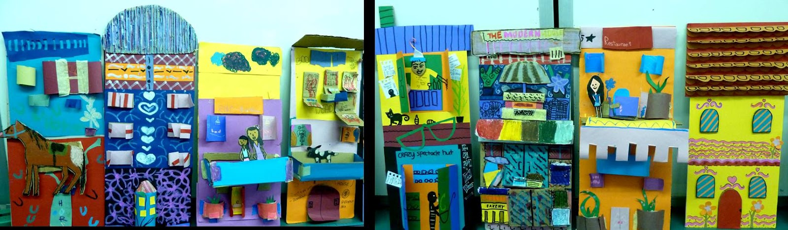 Composite art design houses with recycled mixed media for Art n craft from waste