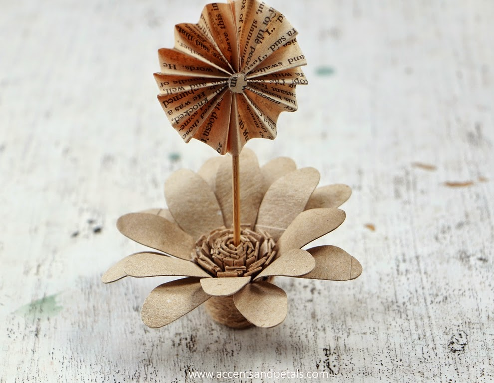 Diy recycled tissue tube flowers used as table number or for Cardboard tube flowers