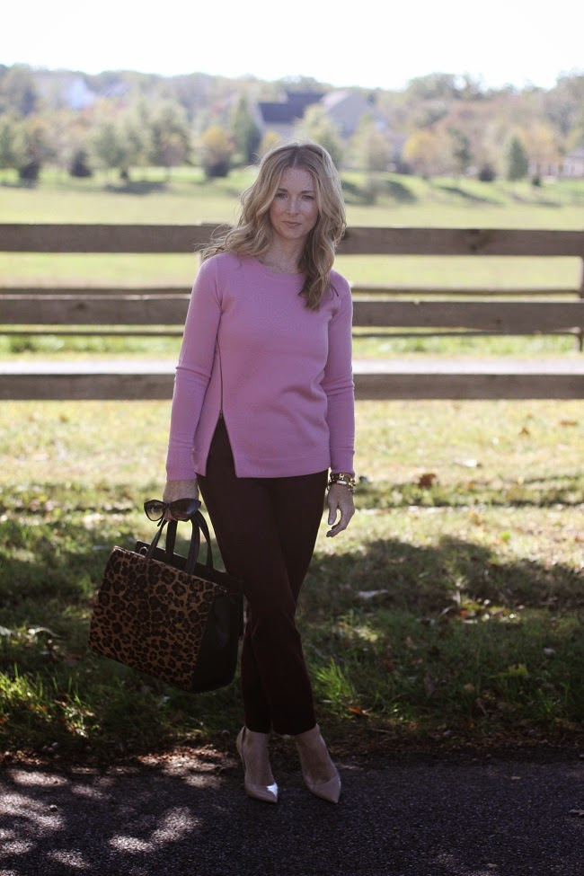 jcrew merino zip sweater, jcrew factory winnie pants, kate spade heels, boden leopard bag, accessory concierge bracelet