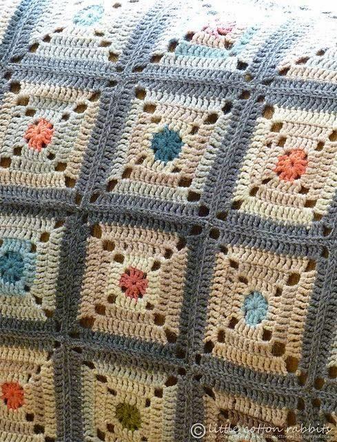 Mar a cielo mantas crochet para el cuarto de los ni os - Mantas de crochet a cuadros ...