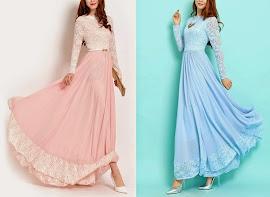 BEST SELLER: Blush Pink Long-Sleeve Lace Chiffon Maxi