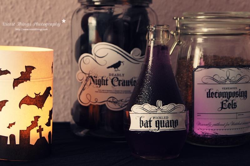 DIY Halloween Gläser und Flaschen mit gruseligen Etiketten