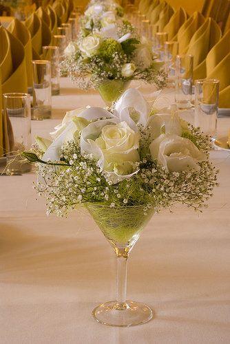 idéé et photo décoration mariage: centre de table en verre - idées