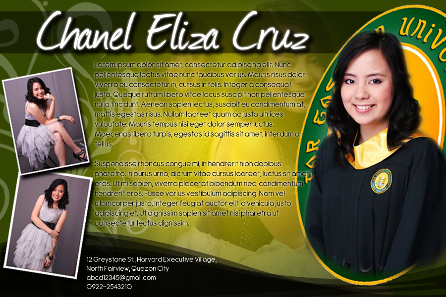 sample profile page for the yearbook - The Blahger