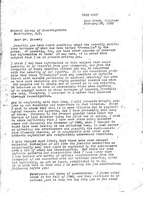 Letter To Hoover Re Green Fireballs (1) 2-26-1952