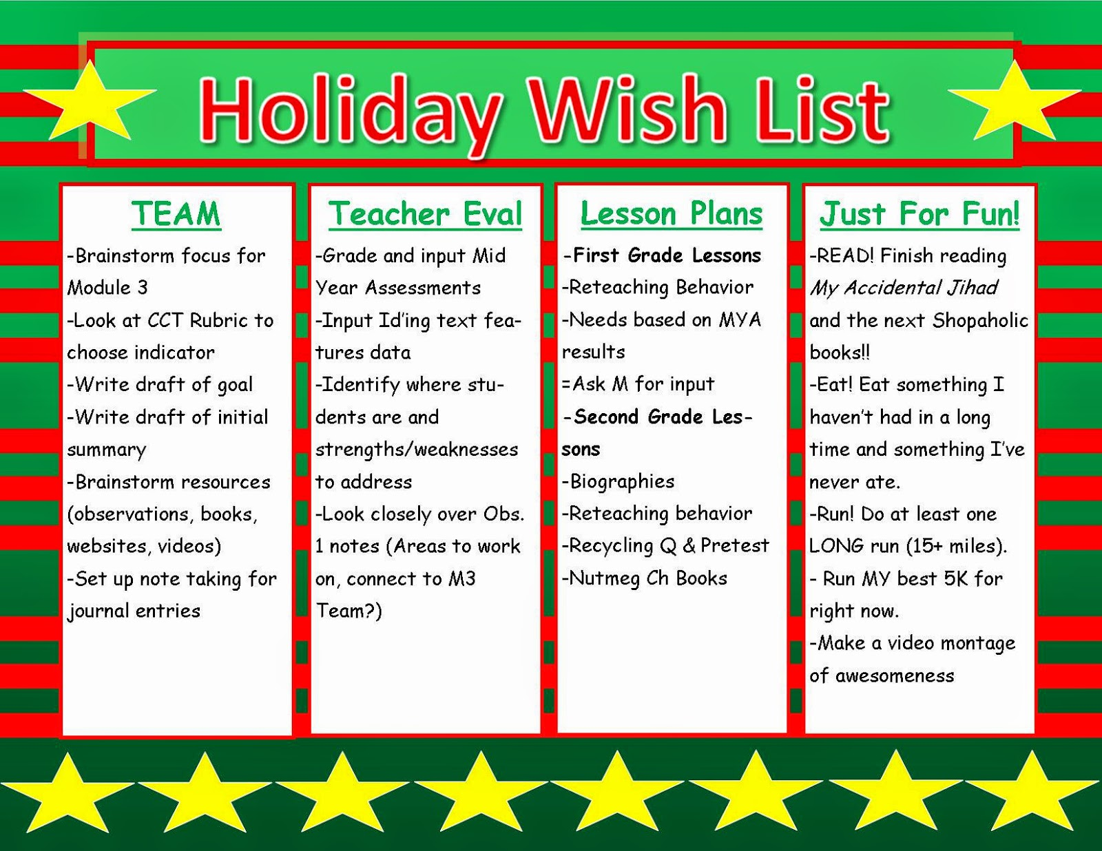 Holiday Wish List: A Vacation Themed To Do List - Teaching ...