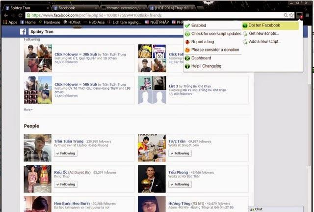 Bạn vào mục Friend trên tường (Timeline) của bạn, bạn xem nhóm Follow và bạn sẽ thấy những người rất lạ.
