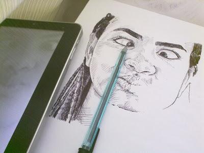 Cíntia Andrade - desenho com caneta esferográfica - inacabado