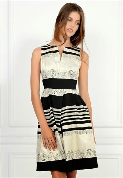 çizgili beyaz ve siyah elbise, dantelli elbise, kısa elbise, 2015 elbise modelleri, adil ışık elbise