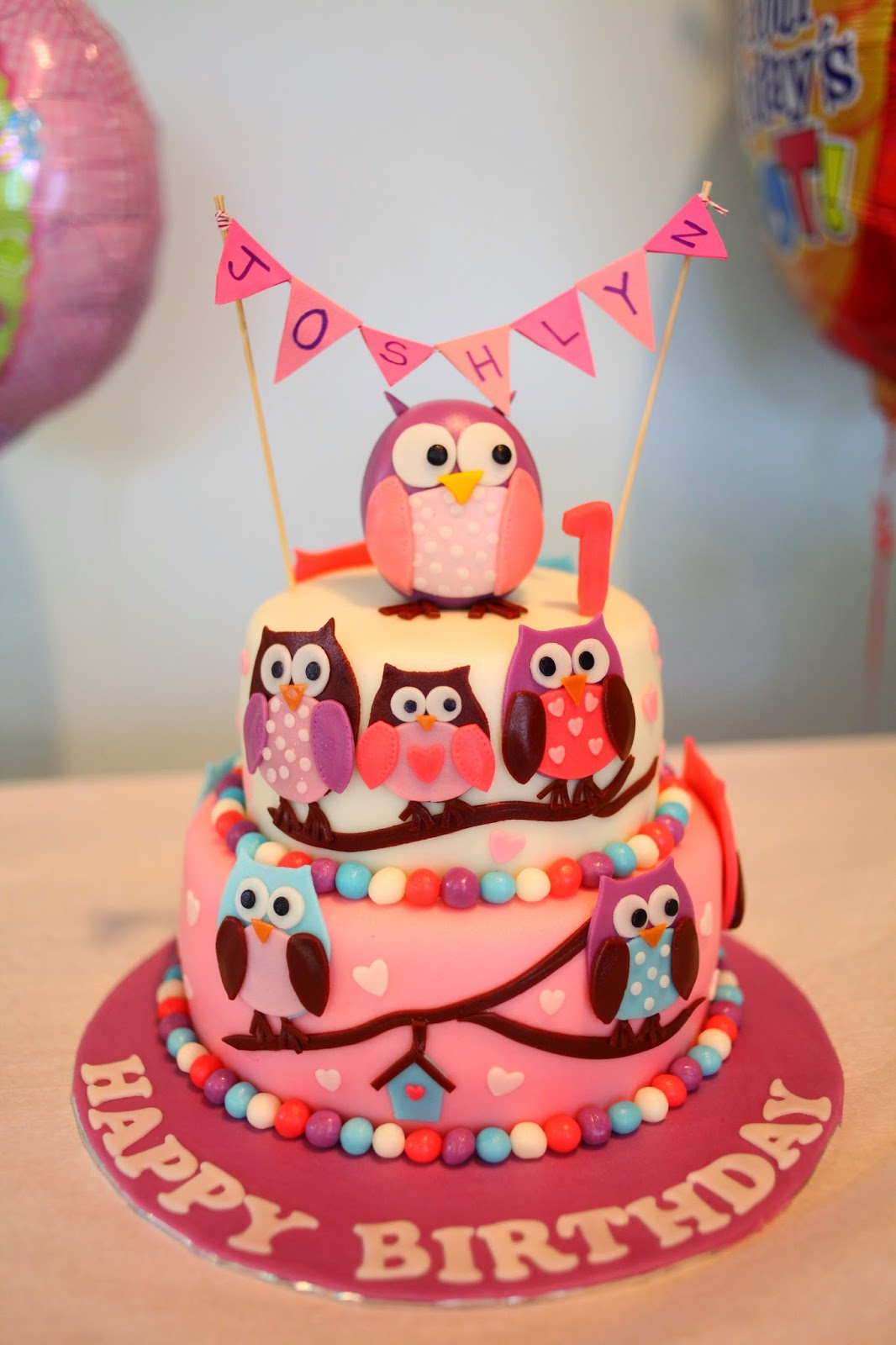 Pink Owl Birthday Cake Sherbakes