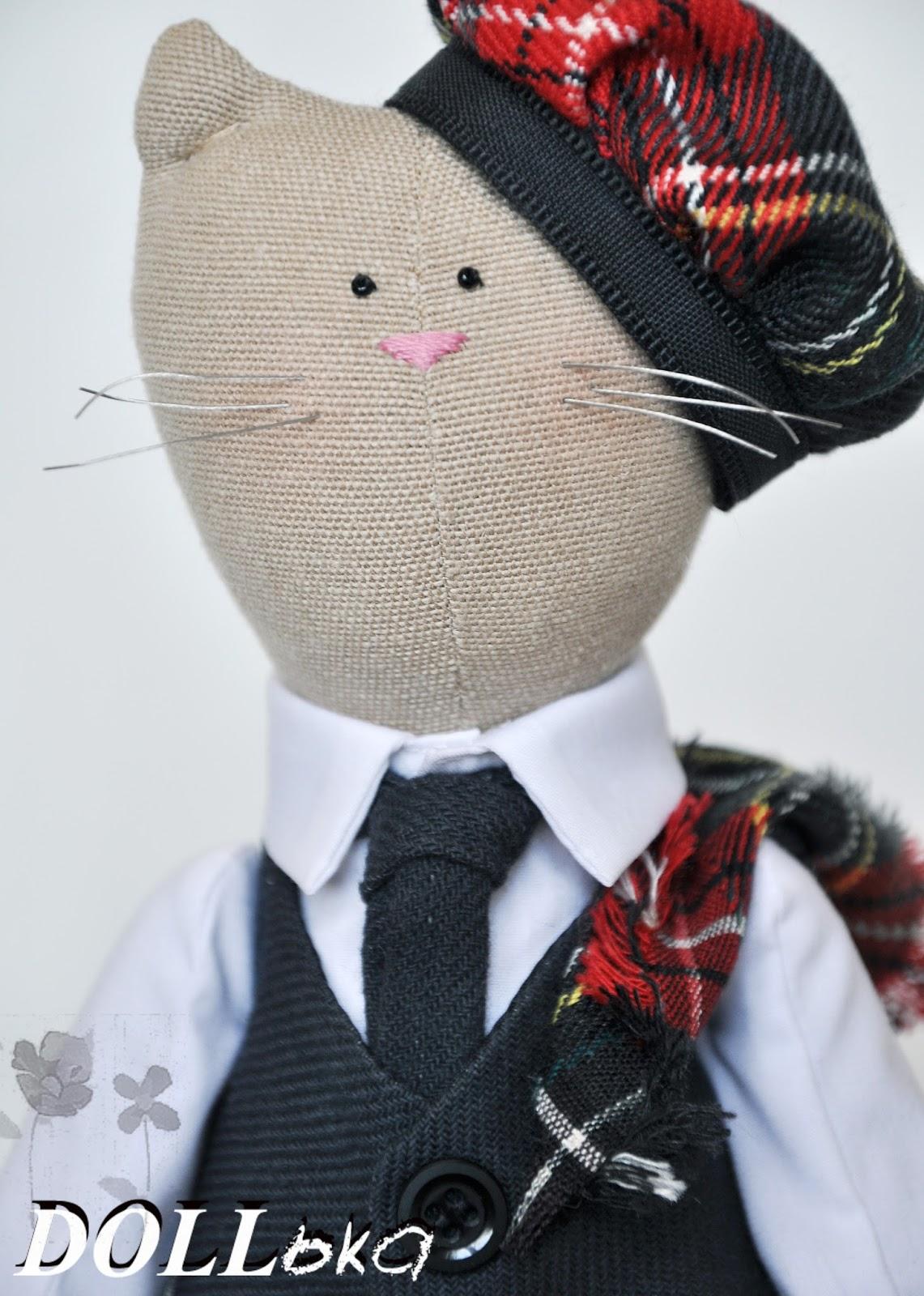 Тильда кот, текстильная игрушка ручной работы