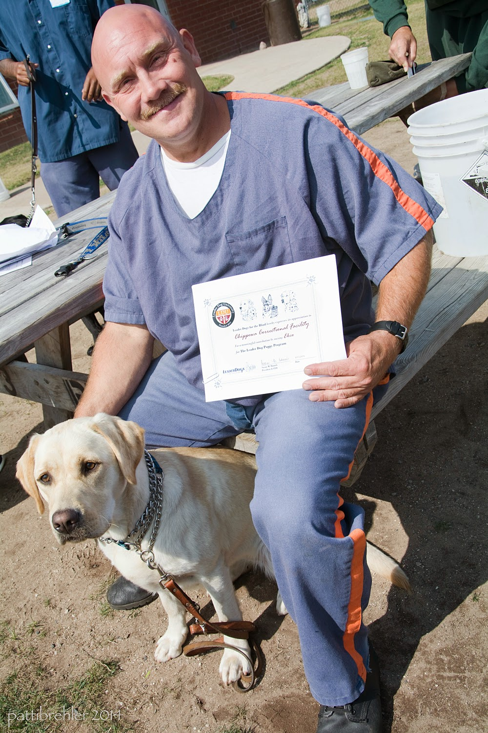 A bald man wearing the blue prison uniform is sitting in the bright sun on the seat of a picnic table. Between his legs sits a young yellow lab, whose leash is hanging on the ground. The man is smiling at the camera, his right hand is touching the dog's neck from behind, and his left hand is holding a certificate on his left thigh.