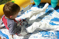 Shaving cream in the play pool