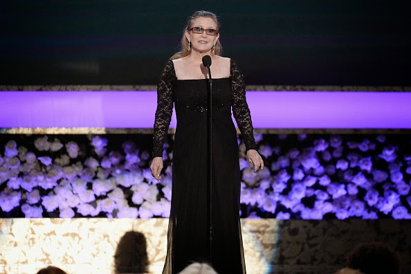 Carrie Fisher in Square-Neck Gown