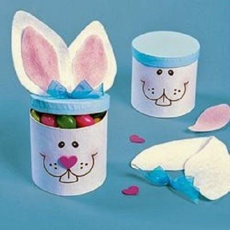 Conejos de Pascua con Tubos de Carton Reciclados