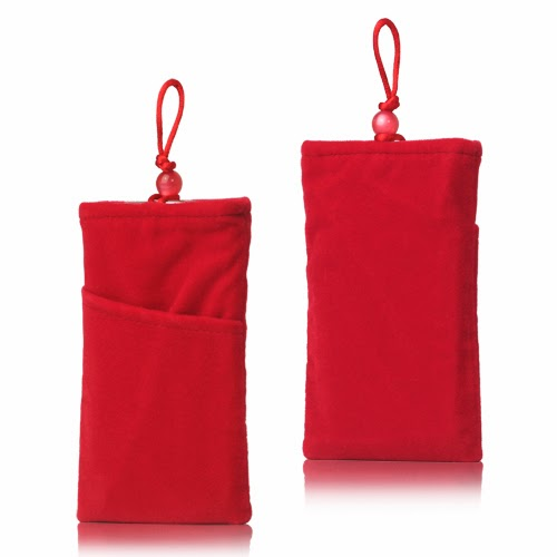 Universal Plush Pouch Bag with Button Closure for Samsung Galaxy S 3 III i9300 S 4 IV i9500 i9505, Size 13.8cm x 8.1cm - Red