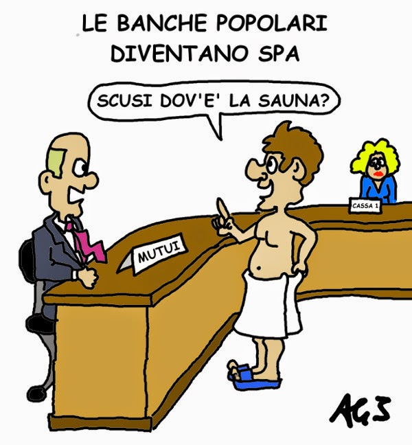 Banche popolari, governo, satira vignetta