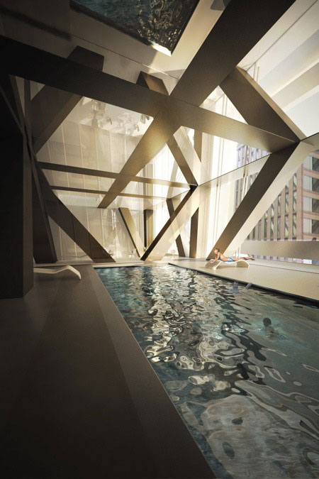 Picture of the swimming pool inside of Tower Verre