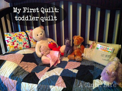 toddler quilt: two toned squares w yellow flannel backing