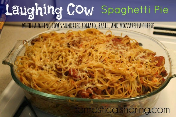 The best baked spaghetti you'll ever try - using #LaughingCow Sundried Tomato, Basil, and Mozzarella cheese! #recipe