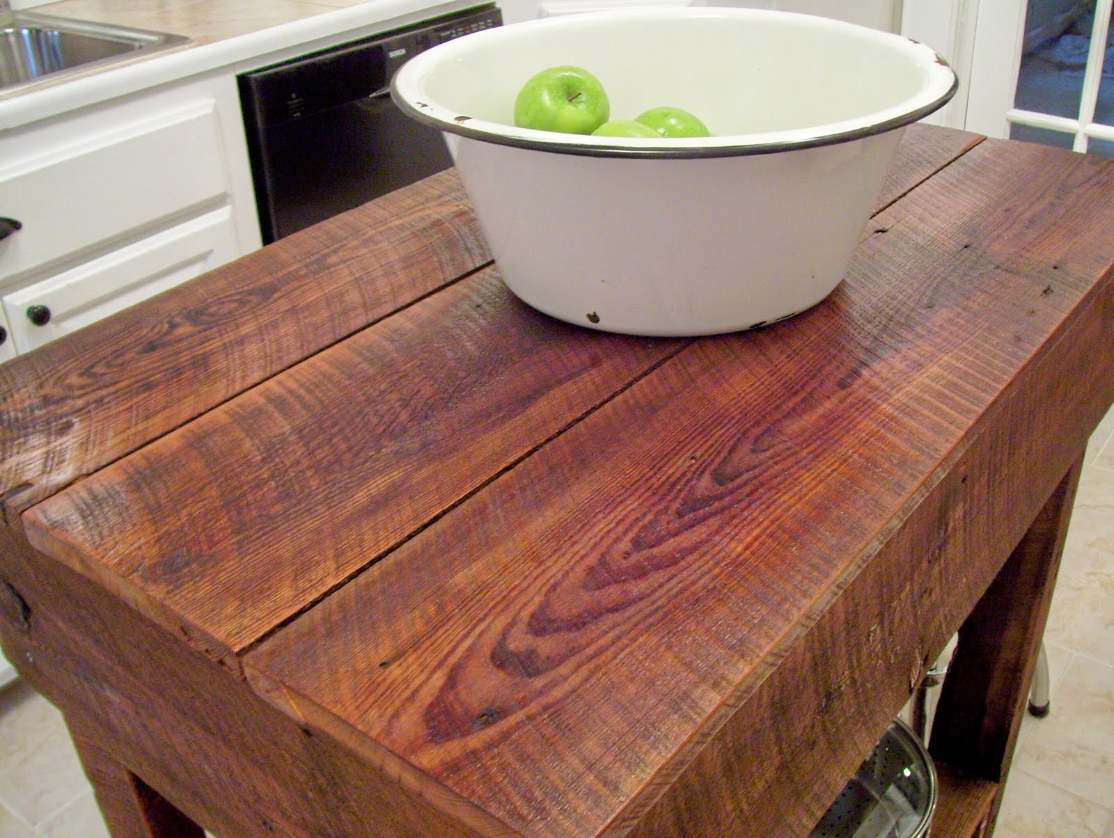 Our vintage home love how to build a rustic kitchen table for Kitchen island table