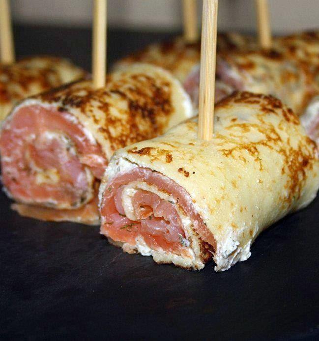 Recette Mini-roulés de crêpes garnies au saumon