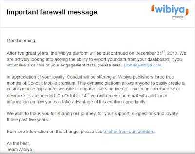 Wibiya Toolbar akan Dihentikan