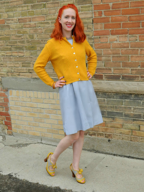 1950s nurse uniform, yellow cardigan, bakelite, Just Peachy, Darling