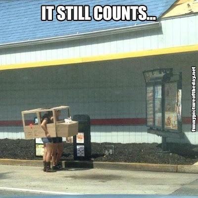 It Still Counts Funny Car Cardboard Buying Fast Food Drive Thru Humor