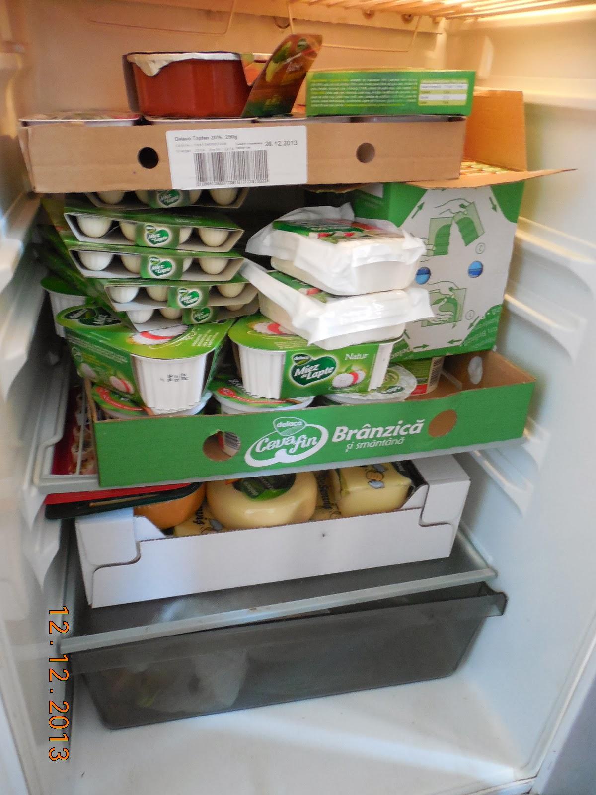 frigiderul burdusit cu branzeturi Delaco