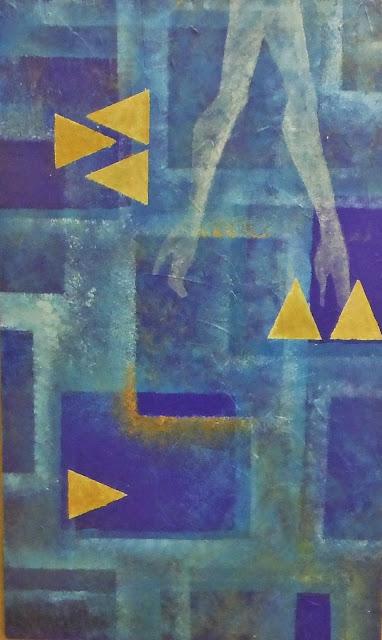 tableau original peint sans pinceau nuances bleus camaîeu format rectangulaire page facebook mimi vermicelle severine peugniez