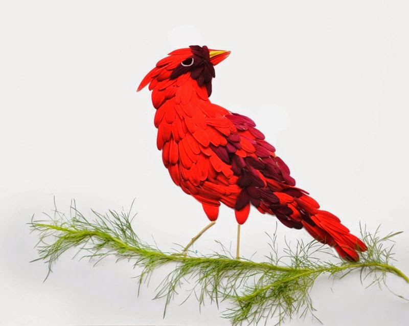 Birds of the flower petals | Red Hong Yi