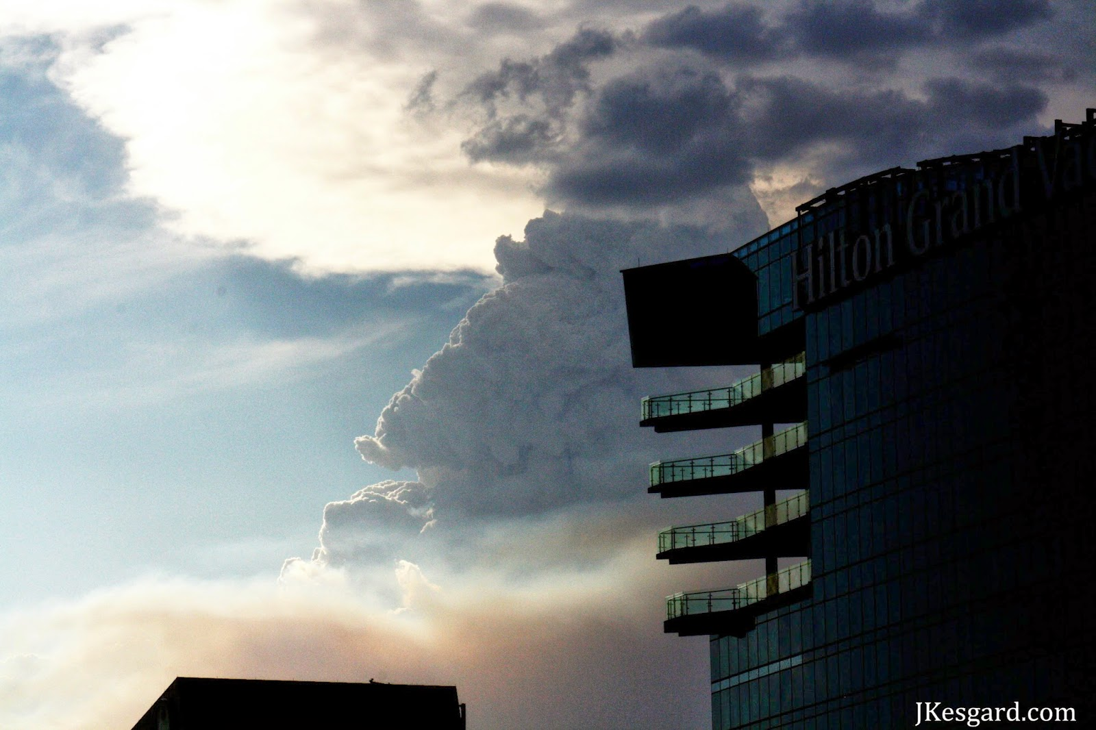 Hilton Vacations tower with smoke column