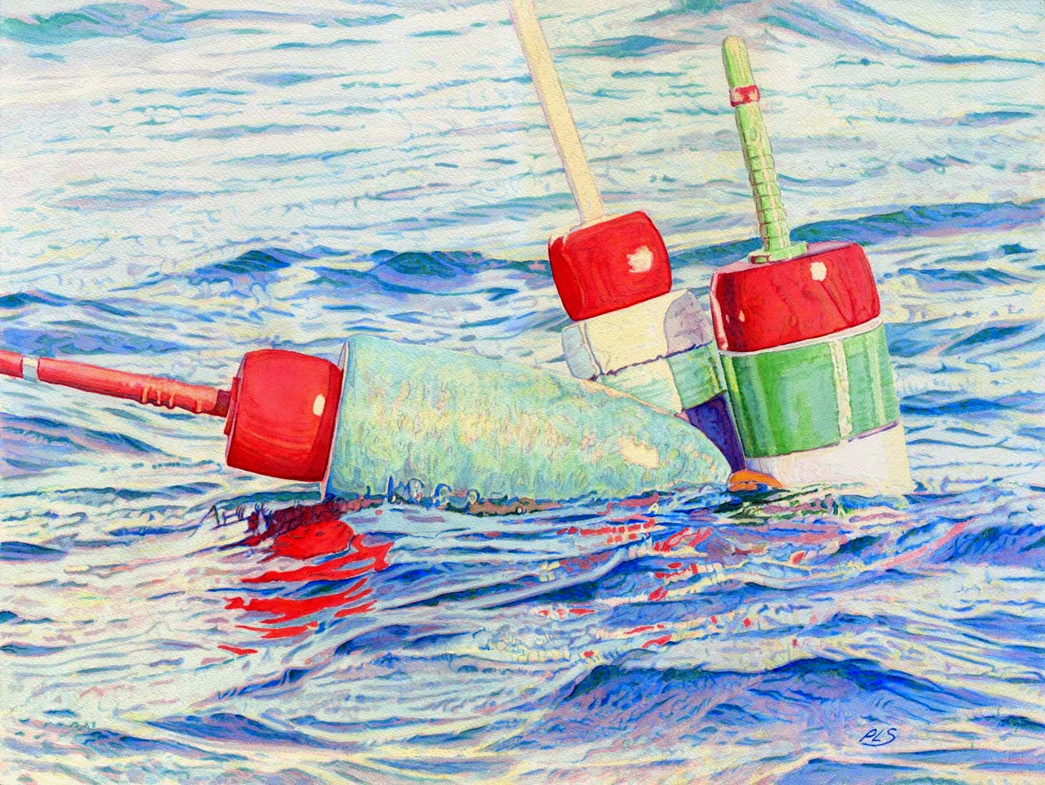 "Buoy Tangle V - Watercolor 18"" x 24"""