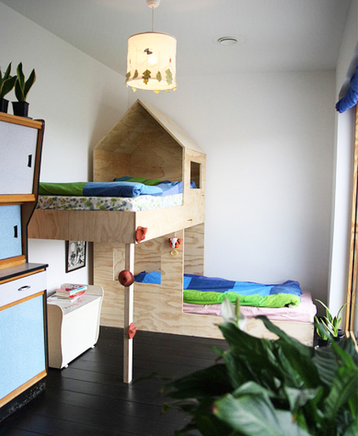 plywood bunk bed in a modern room