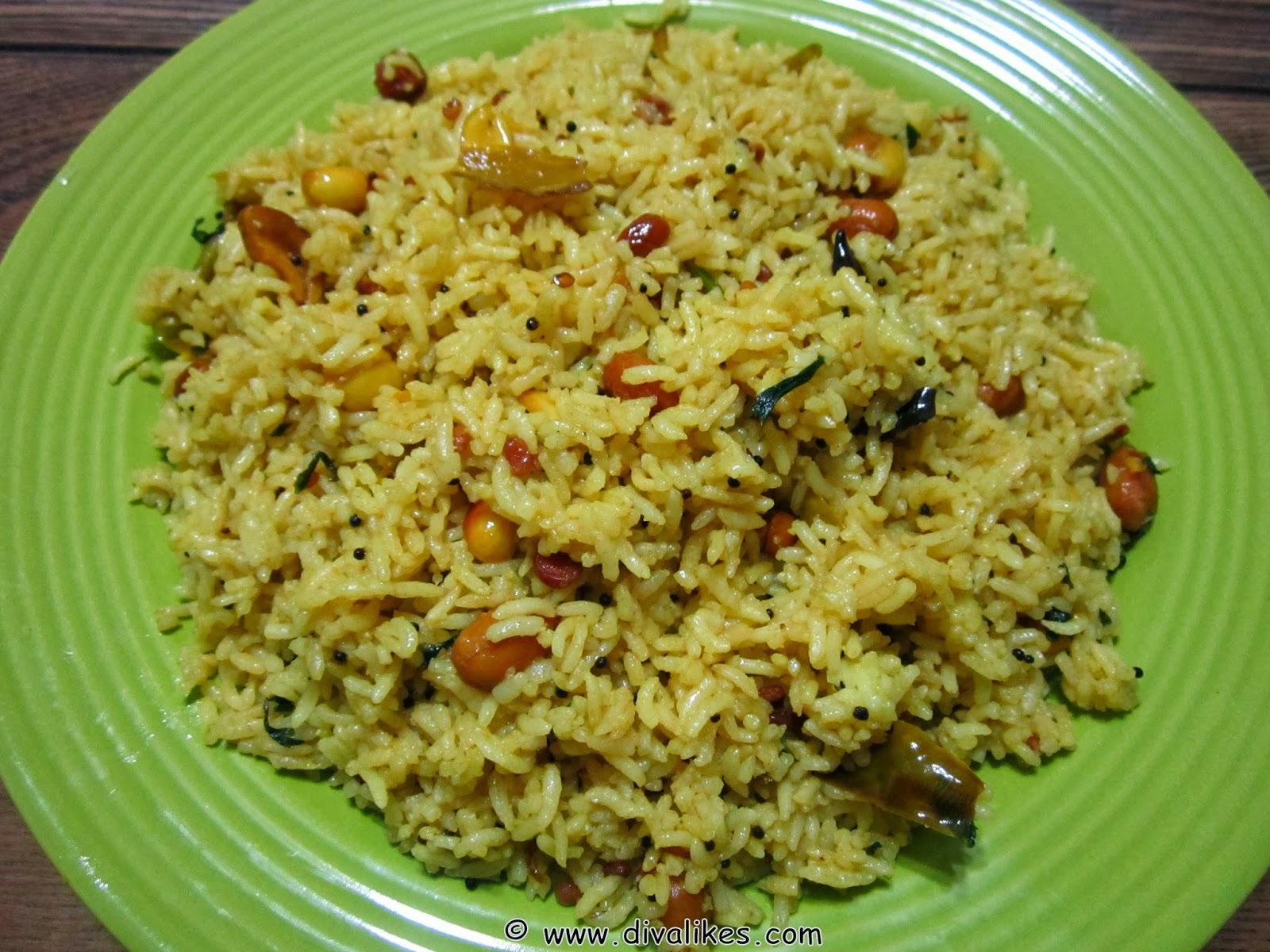 Tamarind Rice / Andhra Pulihora / Puliyogare   Diva Likes
