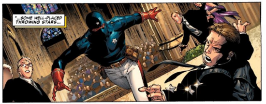 A single comics panel, featuring a young black man in a dark blue costume charging through a church towards a man in a black suit. The suited man falls backward as two throwing stars enter his shoulder. Two other people hover to the right, one of them wearing a bright purple dress, while a slew of people are visible in the church pews beyond the main figures. The scene appears titled within the panel.