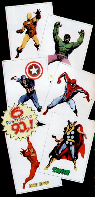 Marvel UK super-hero posters, 1970s, Iron Man, Spider-Man, Thor, Hulk, Captain America, Daredevil, 6 for 90p