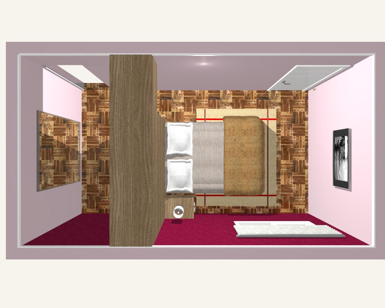 Foi criado um espaço onde o próprio fundo do closet forma o painel  #B72214 1280 1024