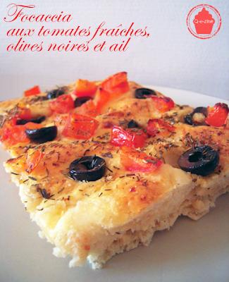 focaccia tomates fraiches olives ail