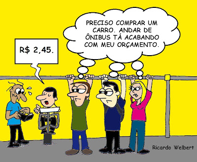 Charge publicada no jornal Agora de terça-feira, 27 de agosto de 2013, sobre o preço do transporte coletivo urbano em Divinópolis