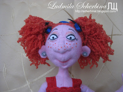 Текстильная кукла на проволочном каркасе Лариска